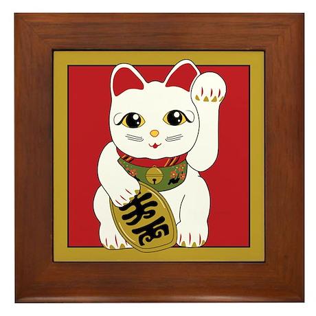 White Maneki Neko Framed Tile