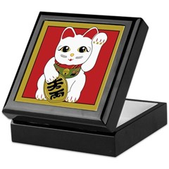 White Maneki Neko Keepsake Box