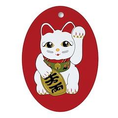 White Maneki Neko Oval Ornament