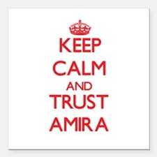 "Keep Calm and TRUST Amira Square Car Magnet 3"" x 3"