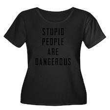 STUPID T Women's Plus Size Dark Scoop Neck T-Shirt