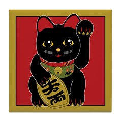 Black Maneki Neko Tile Coaster