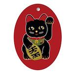 Black Maneki Neko Oval Ornament