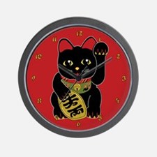 Black Maneki Neko Wall Clock