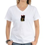 Black Maneki Neko Women's V-Neck T-Shirt