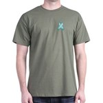 Light Blue Awareness Ribbon Dark T-Shirt