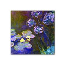 "Pillow Monet Lilies  Aga Square Sticker 3"" x 3"""
