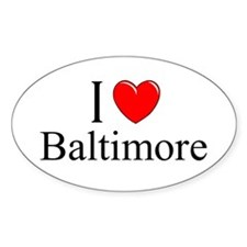 """I Love Baltimore"" Oval Decal"