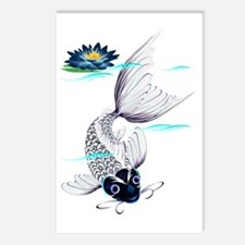 White Koi and Fins Trans Postcards (Package of 8)
