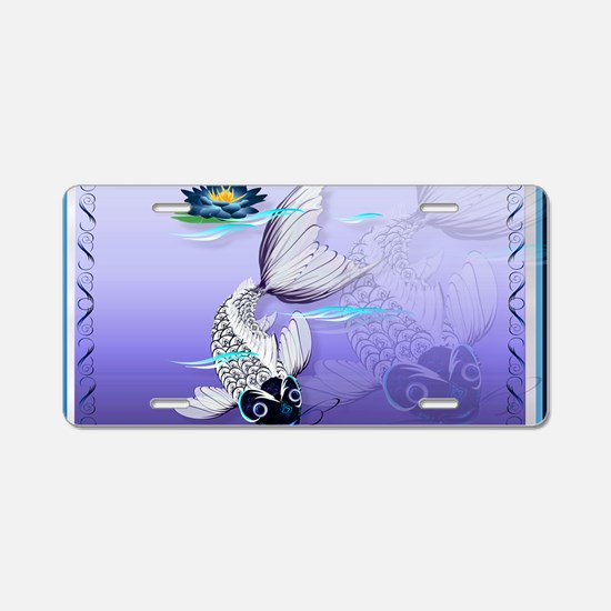 Yard Sign White Koi-Blue Li Aluminum License Plate