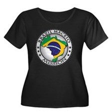 Brazil M Women's Plus Size Dark Scoop Neck T-Shirt