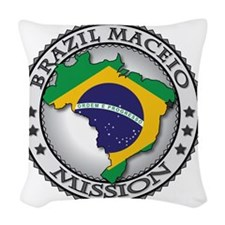 Brazil Maceio LDS Mission Flag Woven Throw Pillow