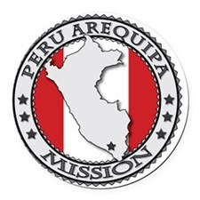 Peru Arequipa LDS Mission Flag Cu Round Car Magnet