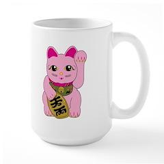 Pink Maneki Neko Large Mug