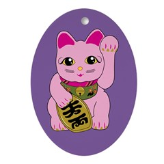 Pink Maneki Neko Oval Ornament