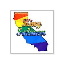 "King Salmon Square Sticker 3"" x 3"""