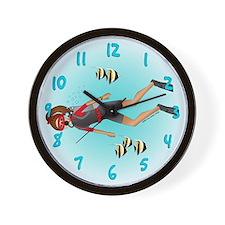 Scuba Woman (brunette) Wall Clock