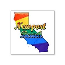 "Newport Beach Square Sticker 3"" x 3"""