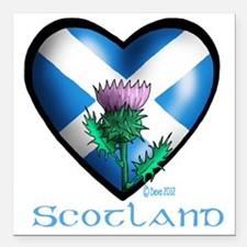 """Heart and Thistle Square Car Magnet 3"""" x 3"""""""