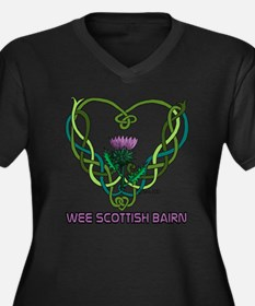 Heart Scot B Women's Plus Size Dark V-Neck T-Shirt