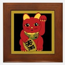 Red Maneki Neko Framed Tile