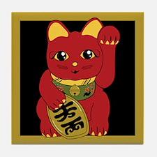 Red Maneki Neko Tile Coaster