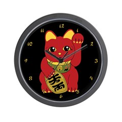 Red Maneki Neko Wall Clock