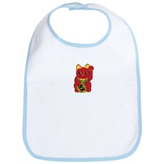 Red Maneki Neko Bib
