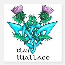 "Wallace Two Thistles Square Car Magnet 3"" x 3"""