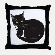 Tuxedo Cat Resting T-shirt Throw Pillow