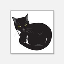 "Tuxedo Cat Resting T-shirt Square Sticker 3"" x 3"""