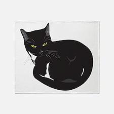 Tuxedo Cat Resting T-shirt Throw Blanket