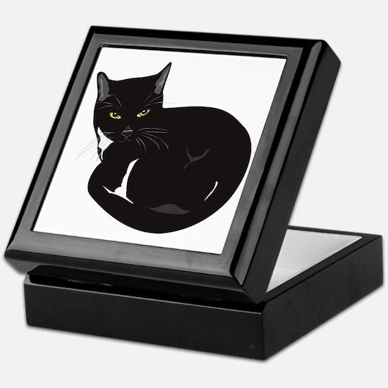 Tuxedo Cat Resting T-shirt Keepsake Box