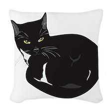 Tuxedo Cat Resting T-shirt Woven Throw Pillow