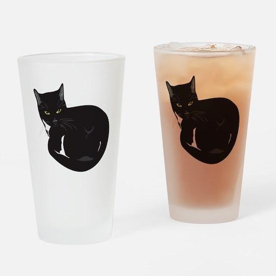 Tuxedo Cat Resting T-shirt Drinking Glass