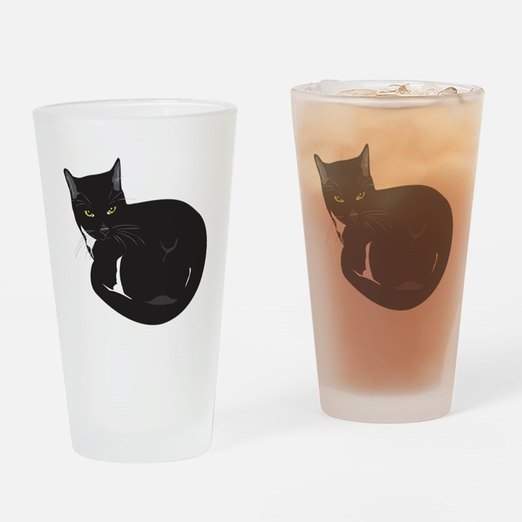 Tuxedo Cat Resting T-shirt Drinking Glass