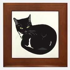 Tuxedo Cat Resting T-shirt Framed Tile