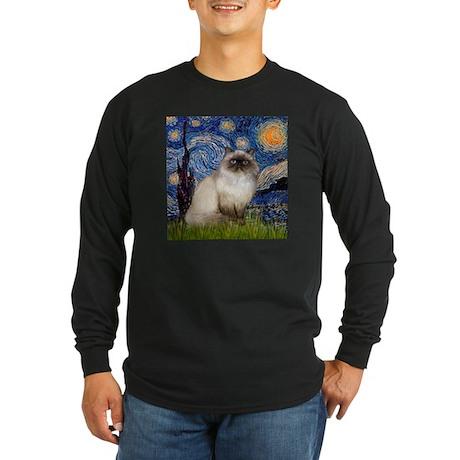 Starry Night Himalayan cat Long Sleeve Dark T-Shir