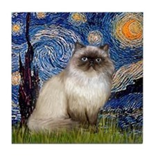 Starry Night Himalayan cat Tile Coaster