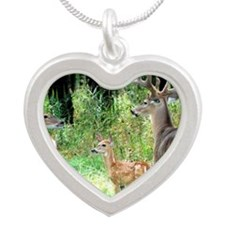 Buck With Doe  Fawn Puzzle Silver Heart Necklace