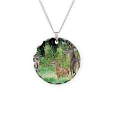 Buck With Doe  Fawn Puzzle Necklace