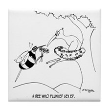 6564_bee_cartoon Tile Coaster