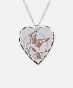 Mockingjay Art Necklace Heart Charm