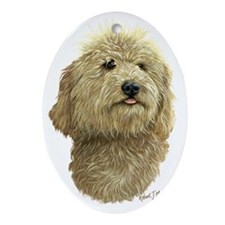 Labradoodle Cream Layered copy Oval Ornament