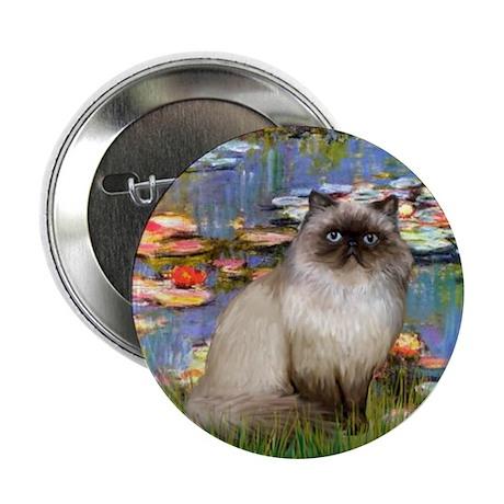 "Lilies & Himalayan cat 2.25"" Button (10 pack)"