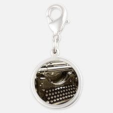 Typewriter Silver Round Charm