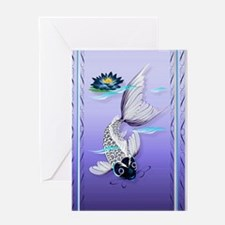 Joural White Koi-Blue Lily Greeting Card