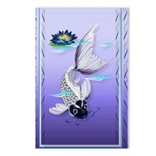 Joural White Koi-Blue Lil Postcards (Package of 8)