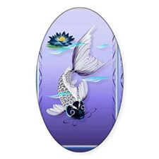 Joural White Koi-Blue Lily Decal