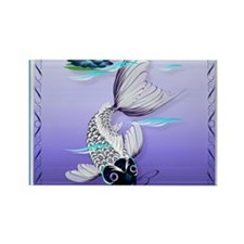 MensWalletWhite Koi-Blue Lily Rectangle Magnet